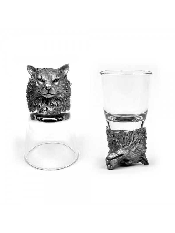 Animal Head Shot Glasses,50ml,Set of 2 Wolf