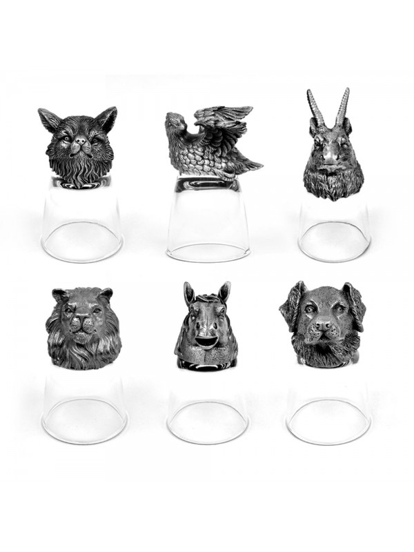 Animal Head Shot Glasses,50ml,Set of 1 Labrador , 1 Horse , 1 Antilope , 1 Lion , 1 Redfox & 1 Bobwhite