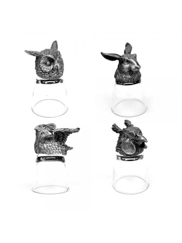 Animal Head Shot Glasses,50ml,Set of 1 Rabbit , 1 Owl , 1 Bobwhite & 1 pheasand