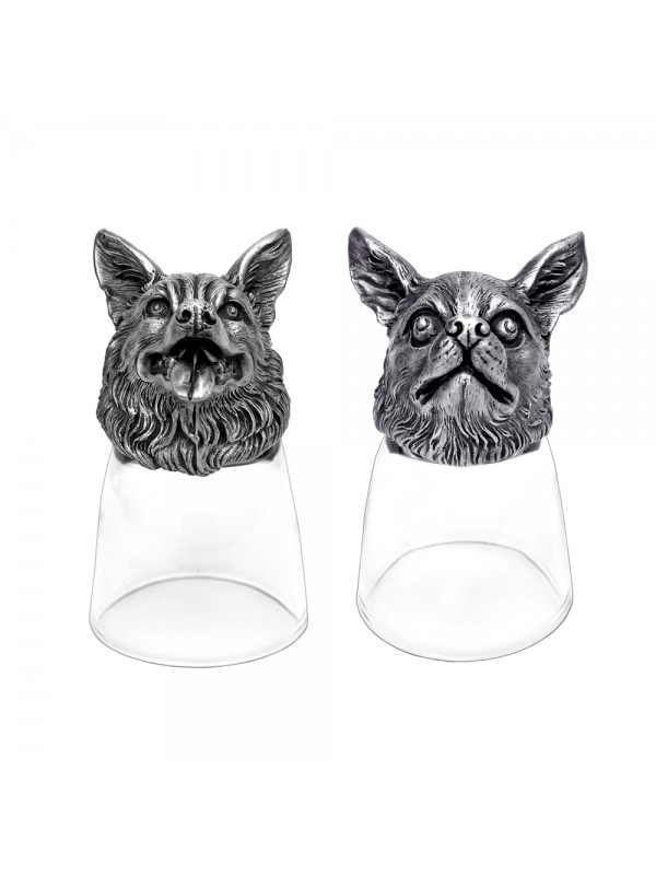 Animal Head Shot Glasses,50ml,Set of 1 German Shepherd & 1 Chihuahua