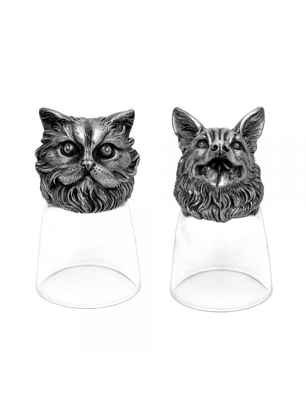 Animal Head Shot Glasses,50ml,Set of 1 Persian Cat & 1 German Shepherd