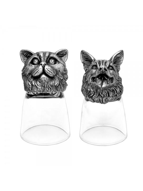 Animal Head Shot Glasses,50ml,Set of 1 British Cat & 1 German Shepherd