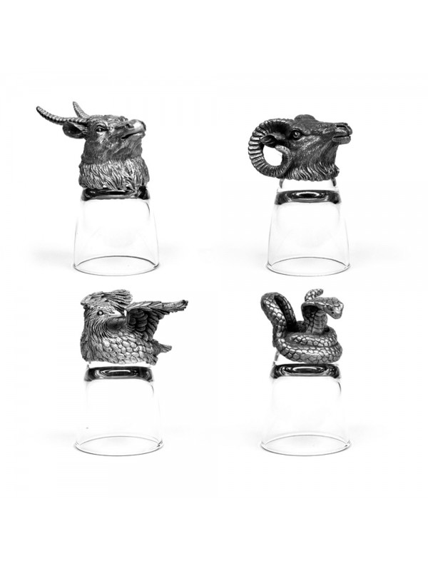 Animal Head Shot Glasses,50ml,Set of 1 Antilope , 1 Bobwhite , 1 Ram & 1 Snake