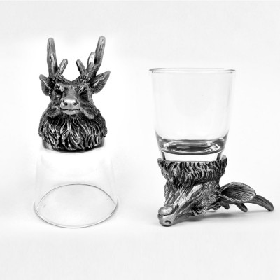 Animal Head Shot Glasses,50ml,Set of 1 Deer & 1 Bison