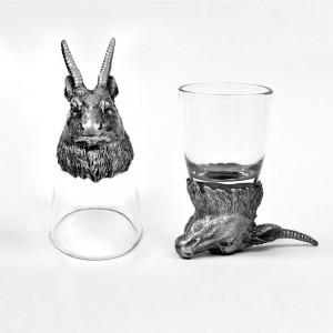 Animal Head Shot Glasses,50ml,Set of 1 Antilope & 1 Bison