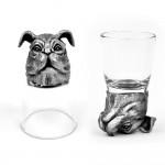 Animal Head Shot Glasses,50ml,Set of 1 Bulldog & 1 Horse
