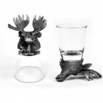 Animal Head Shot Glasses,50ml,Set of 1 Antelope & 1 Moose