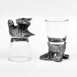 Animal Head Shot Glasses,50ml,Set of 1 Bob White & 1 Pheasant
