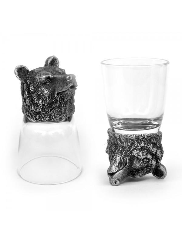 Animal Head Shot Glasses,50ml,Set of 2 Bear