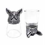 Animal Head Shot Glasses,50ml,Set of 1 Beagle & 1 Chihuahua