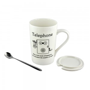 White Ceramic Mug - Telephone