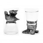 Animal Head Shot Glasses,50ml,Set of 1 Rooster & 1 Bobwhite