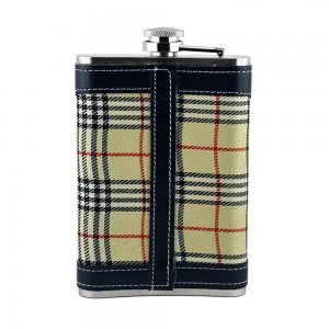 Checkered Print Hip Flask - 9oz (266 ml)