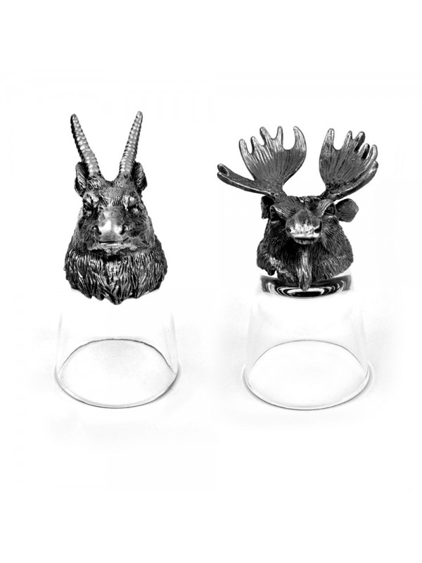 Animal Head Shot Glasses,50ml,Set of 1 Antelope & 1 Moose