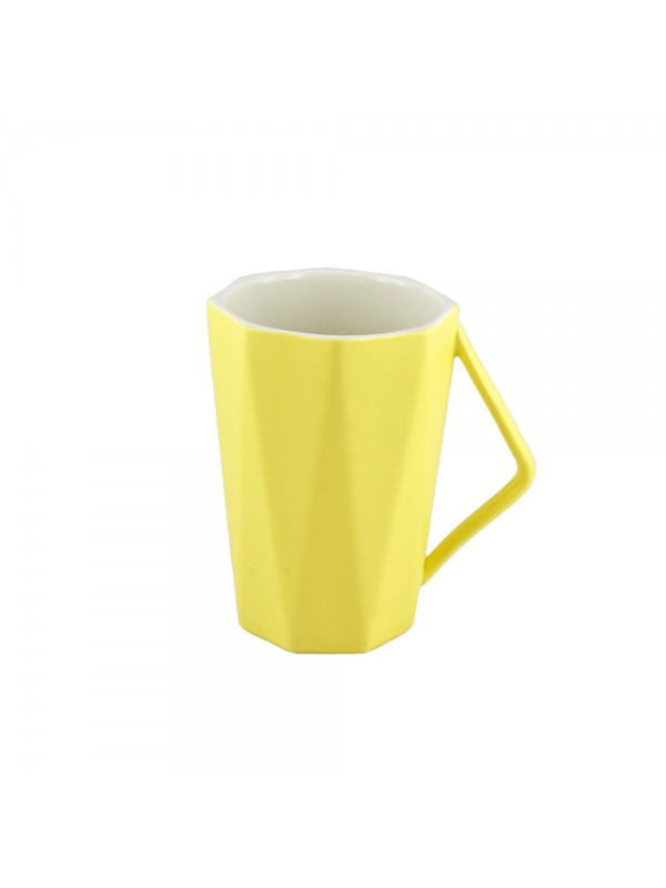 Faceted Pastel Mug - Yellow
