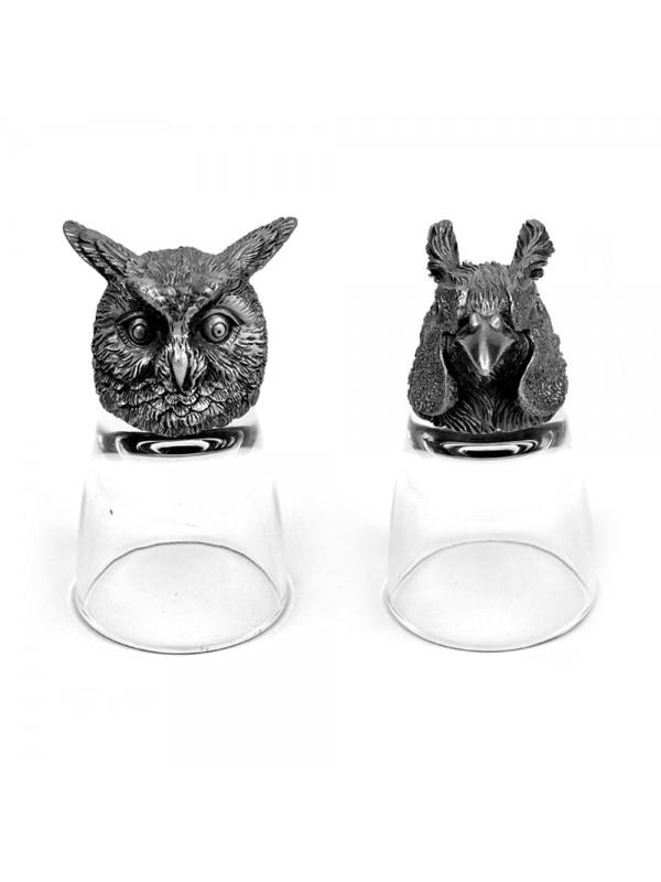 Animal Head Shot Glasses,50ml,Set of 1 Owl & 1 Pheasant