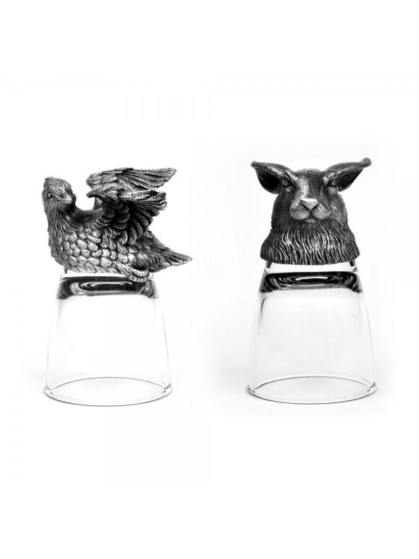 Animal Head Shot Glasses,50ml,Set of 1 Rabbit & 1 Bobwhite