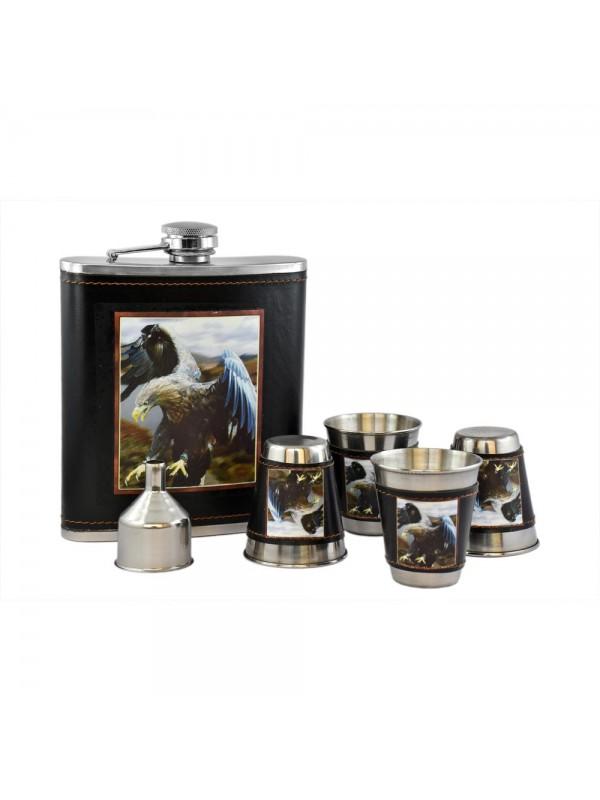 Eagle Hip Flask Set - 18 oz