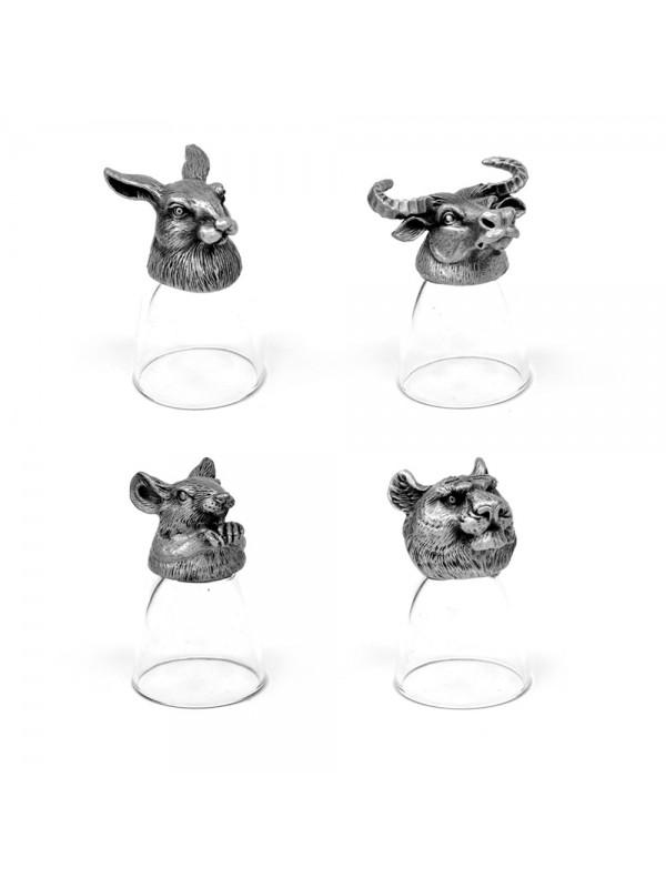 Animal Head Shot Glasses,30ml,Set of 1 Mouse ,1 Buffalo , 1 Tiger & 1 Rabbit