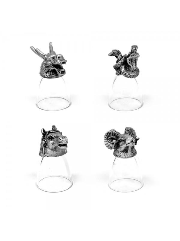 Animal Head Shot Glasses,30ml,Set of 1 Dragon , 1 Snake, 1 Horse & 1 Ram