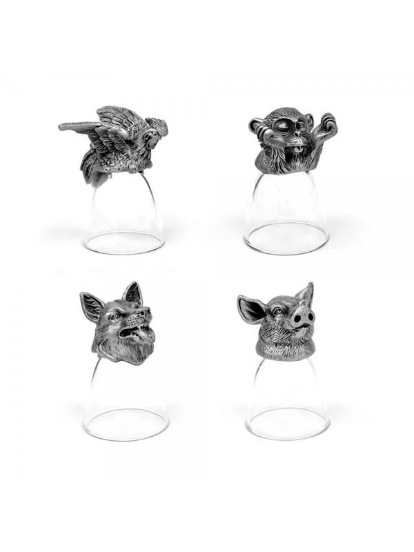Animal Head Shot Glasses,30ml,Set of 1 Monkey , 1 Chicken , 1 Angry dog & Pig