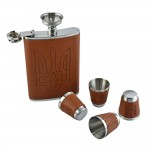 Brown Hip Flask Set - 9 oz