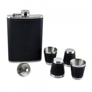 Black Hip Flask Set  - 9 oz