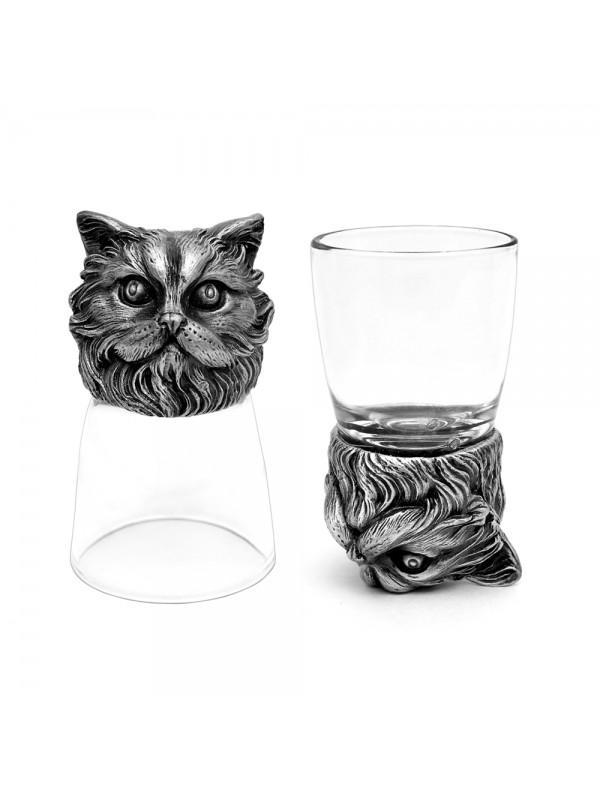 Animal Head Shot Glasses,50ml,Set of 2 Persian Cat