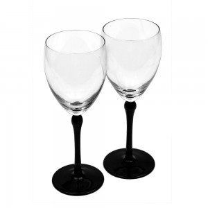 Fancy Wine Glasses with Black Stem