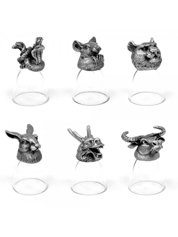 Animal Head Shot Glasses,30ml,Set of 1 Mouse, 1 Buffalo, 1 Tiger, 1 Rabbit, 1 Dragon, 1 Snake