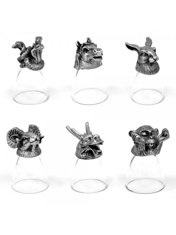 Animal Head Shot Glasses,30ml,Set of 1 Rabbit, 1 Dragon, 1 snake, 1 Horse, 1 Monkey, 1 Ram
