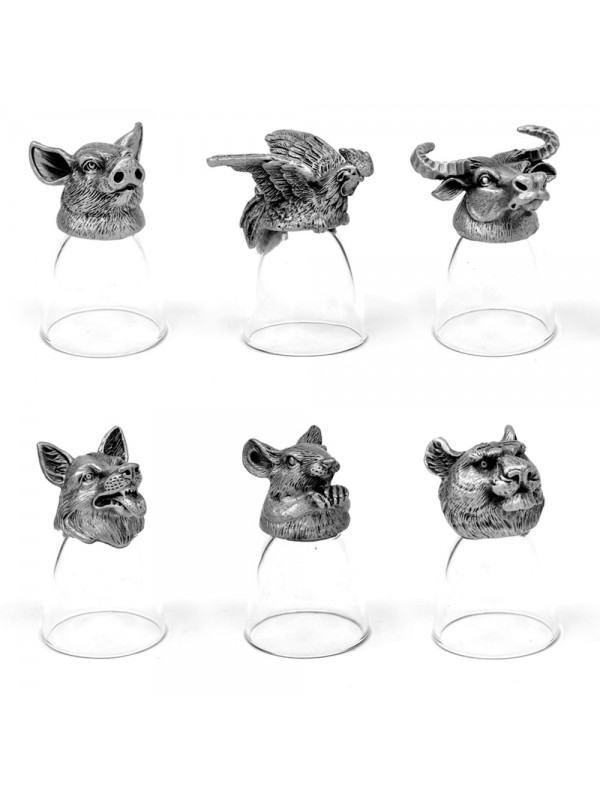 Animal Head Shot Glasses,30ml,Set of 1 Chicken, 1 Dog, 1 Pig, 1 Mouse, 1 Buffalo, 1 Tiger