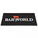 "12"" X 6"" Rectangular Barworld Logo Bar Mat - Black"