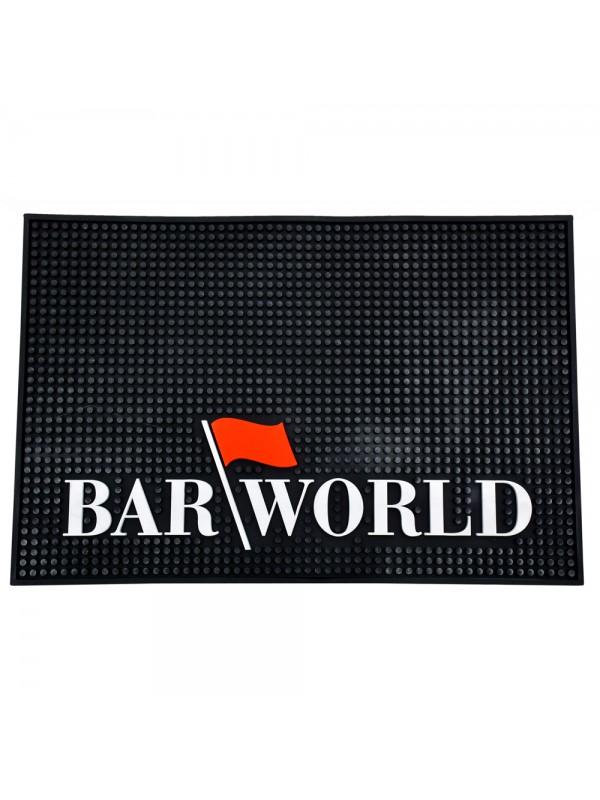 "18"" X 12"" Rectangular XL Barworld Logo Bar Mat - Black"