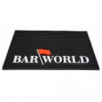"18"" X 12"" Rectangular XL Barworld Logo Bar Mat - Black"