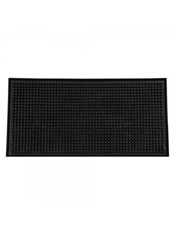 "12"" X 6"" Rectangular Bar Mat - Plain Black"