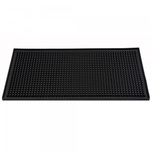 "12"" X 6"" Rectangular Bar Mat - Plain Black"