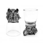 Animal Head Shot Glasses,50ml,Set of 1 Beagle & 1 German Shepherd