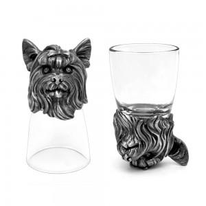 Animal Head Shot Glasses,50ml,Set of 1 Beagle & 1 York