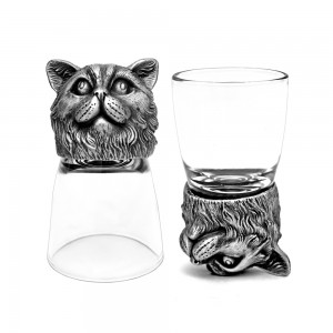 Animal Head Shot Glasses,50ml,Set of 1 Chihuahua & 1 British Cat