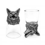 Animal Head Shot Glasses,50ml,Set of 1 Dachshund & 1 German Shepherd