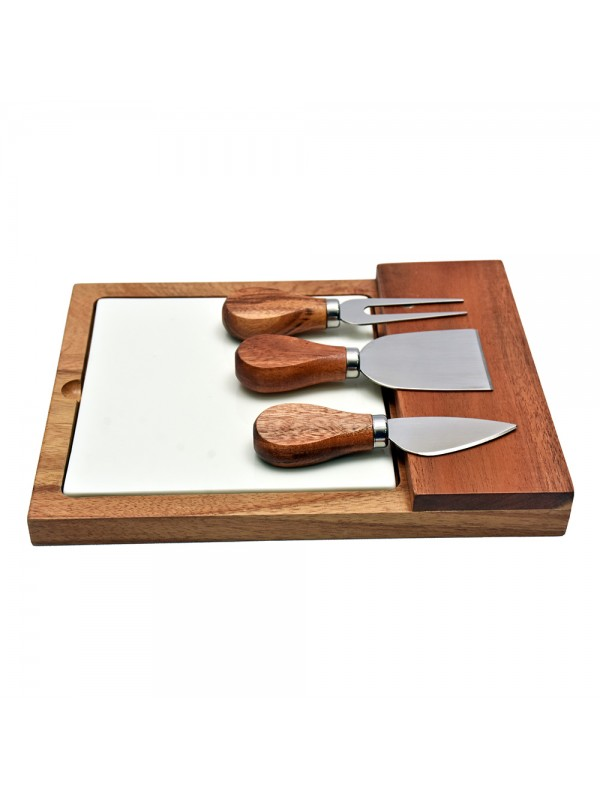 Cheese Knife Set with Ceramic Cheeseboard
