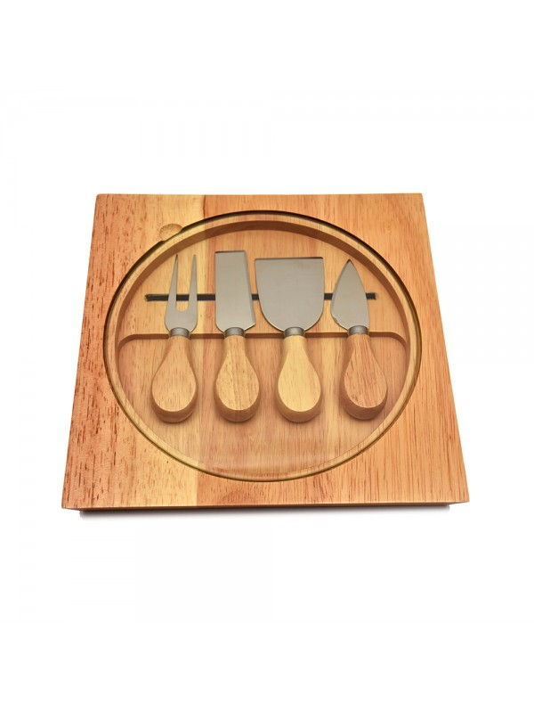 Wooden Cheese Knife Set with Glass Cutting Board