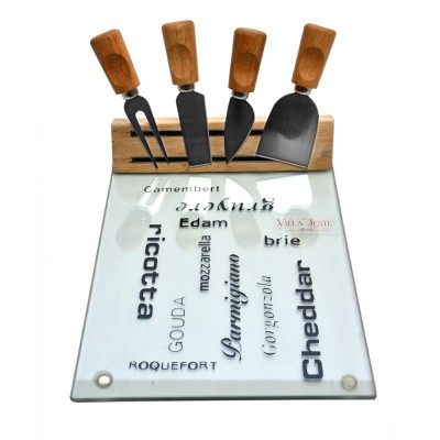 5 pc Cheese Serving Set with Glass Cheeseboard
