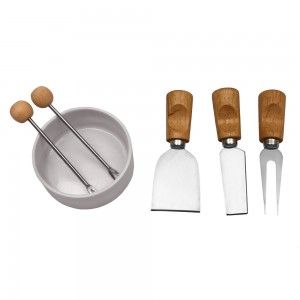 7 pc Cheese Serving Set with Glass Cheeseboard