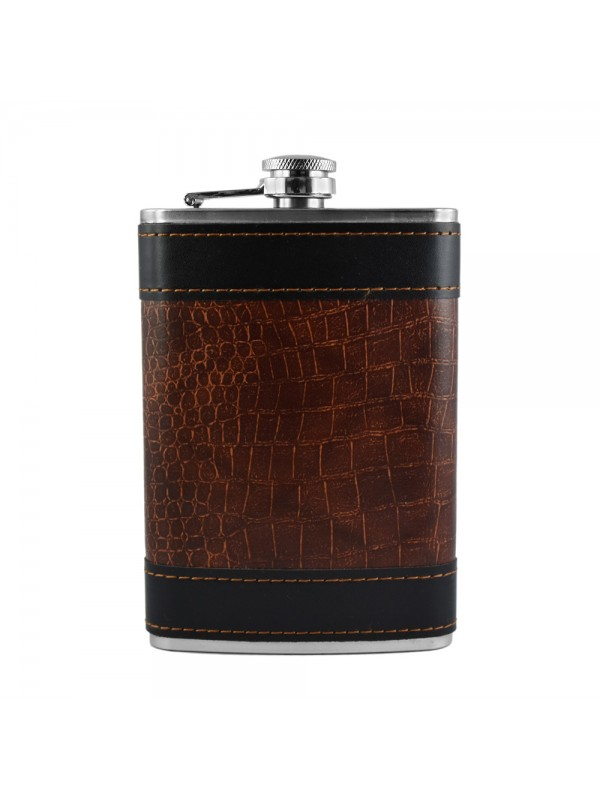 Brown and Black Textured Hip Flask - 9 oz