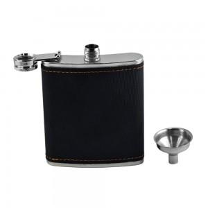 Black Textured Hip Flask Set - 7 oz