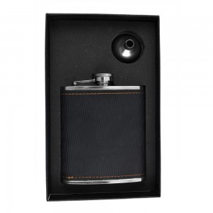 Black Textured Hip Flask Set - 7 oz