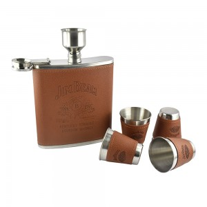 Jim Beam Hip Flask Set with funnel and 4 shot glasses - 18 oz (532 ml)