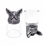 Animal Head Shot Glasses,50ml,Set of 1 York & 1 Chihuahua